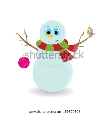 Vector snowman isolated on white. vector merry christmas background for greeting card or banner - stock vector
