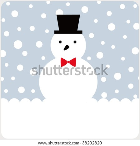 vector snowman of christmas card