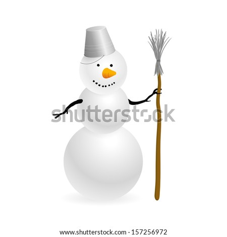 Vector Snowman On White Background