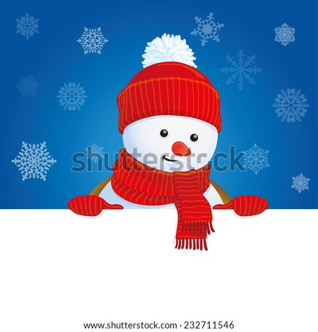 vector snowman wearing red knitted scarf and hat holding blank banner, blue winter background - stock vector