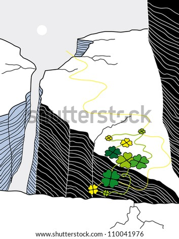 Vector snowy rocks with green leaves as a symbol of power - stock vector