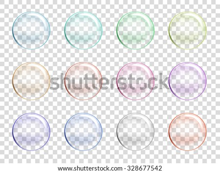 Vector Soap Water Bubbles Set. Transparent Isolated Realistic Design Elements. Can be used with any Background. - stock vector