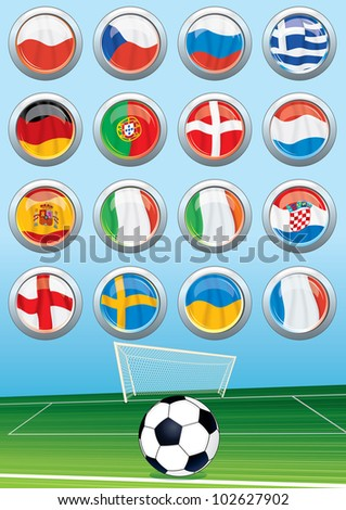 Vector Soccer Background and Set of Euro 2012 Group Flags - stock vector