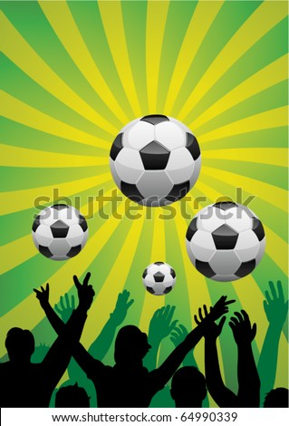 vector soccer background with silhouettes of people and balls