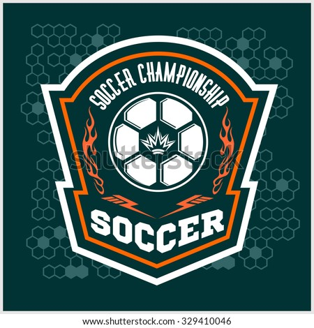 Vector Soccer Badge, patch and Football Emblem on dark background. - stock vector