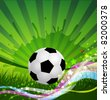 vector Soccer Ball background, grass and colorful wave - stock