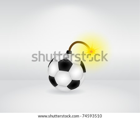 Vector soccer ball bomb illustration - stock vector
