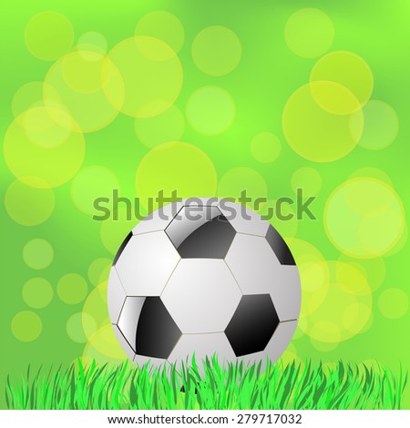 Vector Soccer Ball Lying on the Green Grass. Summer Green Blurred Background.