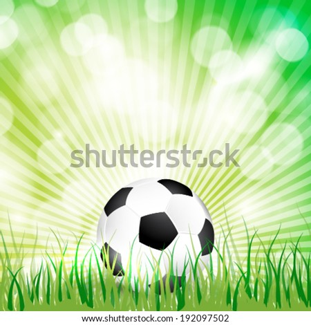 Vector soccer ball on grass background illustration.