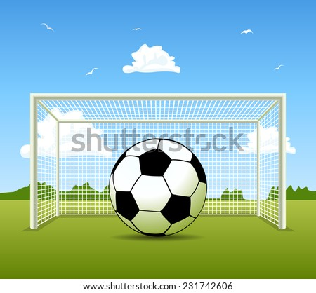 Vector Soccer ball on the green field - stock vector