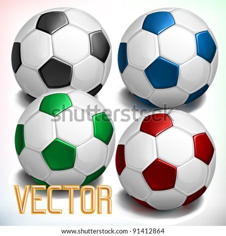 vector soccer balls - stock vector