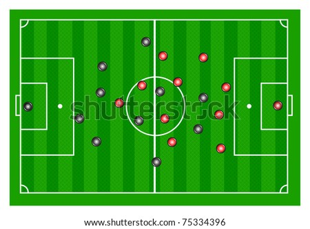 Vector soccer field with players