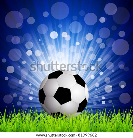 vector soccer football on grass, on a blue background with rays - stock vector