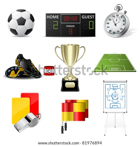 Vector soccer icons - stock vector