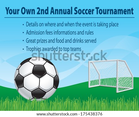 vector soccer illustration for invitations, celebrations and other promotional offerings. - stock vector