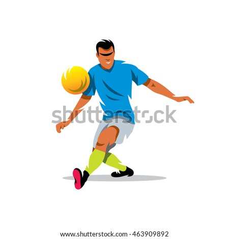 Vector Soccer player Cartoon Illustration. Man kicks the ball. Unusual Logo template isolated on a white background