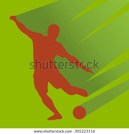 vector soccer player silhouette. player shooting.green background - stock vector