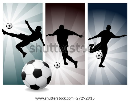 Vector Soccer Players. Easy Change Colors. (Check out my portfolio for other silhouettes) - stock vector
