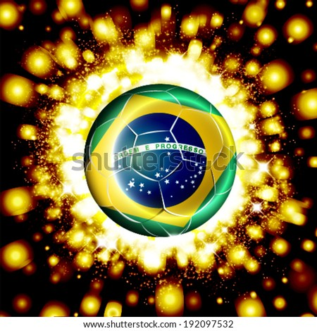 Vector soccer poster with football ball with Brazil flag. - stock vector