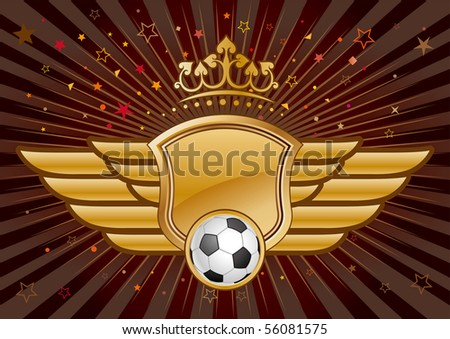 vector soccer,shield and crown - stock vector