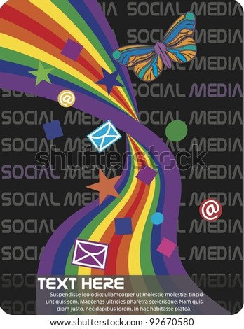 Vector Social Media Butterfly Illustration features Rainbow and suggested text placement. - stock vector