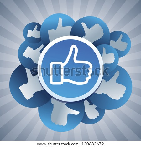 Vector social media concept - stickers with like signs - stock vector