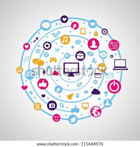 Vector social media concept - technology icons - stock vector