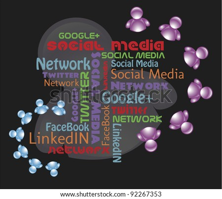 "Vector Social Media Illustration:  Art features several modern typography typefaces surrounded my ""social people."""