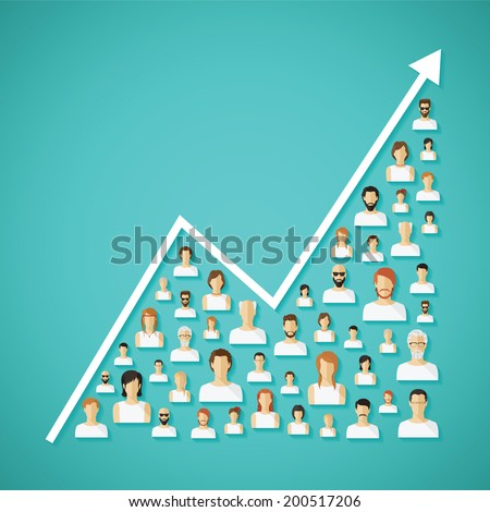 Vector social network population and demography growh concept with flat human icons. - stock vector