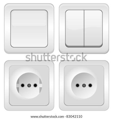 vector Sockets and switches on white - stock vector