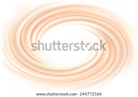 Vector soft wonderful mixed deep orange curvy swirling backdrop with space for text. Beautiful delicious volute fluid creamy surface - stock vector