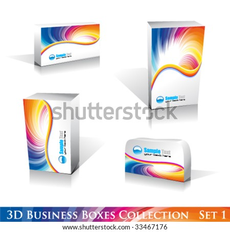 VECTOR Software or Generic Product 3D Boxes Icon set with reflections and shadows - stock vector
