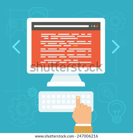 Vector software testing concept in flat style - source code on the screen of the computer - stock vector