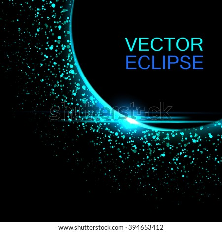 Vector solar eclipse.Sun eclipse in space background. Vector eclipse backdrop.Cosmic background. - stock vector