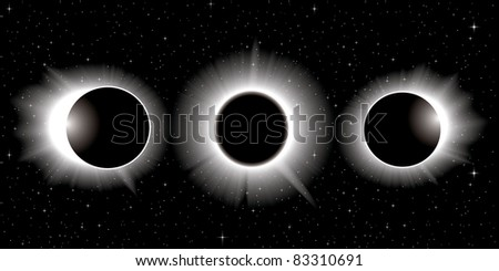 Vector solar eclipse, three stages - stock vector
