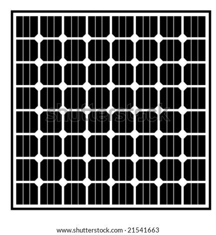 Vector Solar Panel Black/White - stock vector