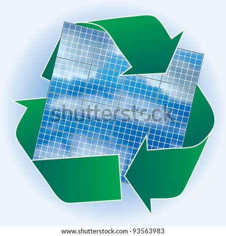 vector solar panels with recycling sign - stock vector