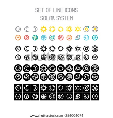Vector solar system line icons - stock vector