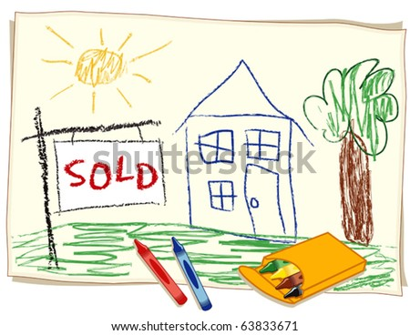 vector - SOLD Real Estate Sign, Child's crayon style drawing, house in a sunny landscape, box of crayons. EPS8 organized in groups for easy editing. - stock vector