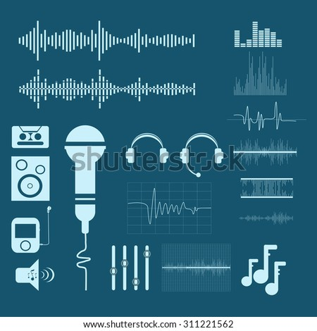 Vector Sound Waveforms. Sound and musical  icons eps 10 - stock vector