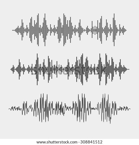 Vector sound waves set. Audio equalizer  - stock vector