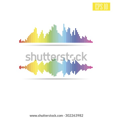 Vector sound waves set. Audio equalizer technology, pulse musical - stock vector
