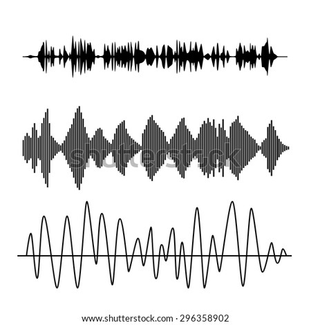 Vector sound waves set. Audio technology advertising background.  - stock vector