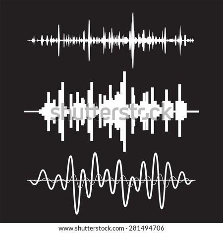 Vector sound waves set on black background - stock vector