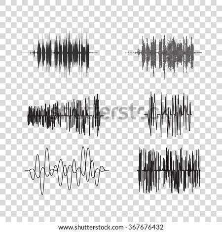Vector sound waves set on transparent. Audio equalizer technology, music pulse. Vector illustration - stock vector