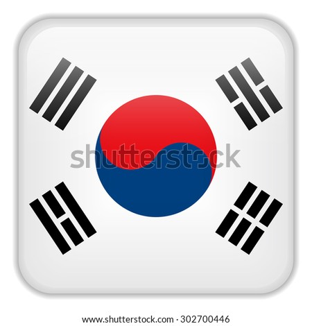 Vector - South Korea Flag Smartphone Application Square Buttons