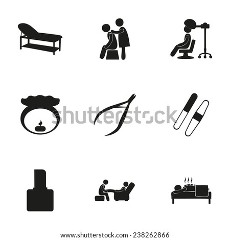 Vector spa icon set on white background - stock vector
