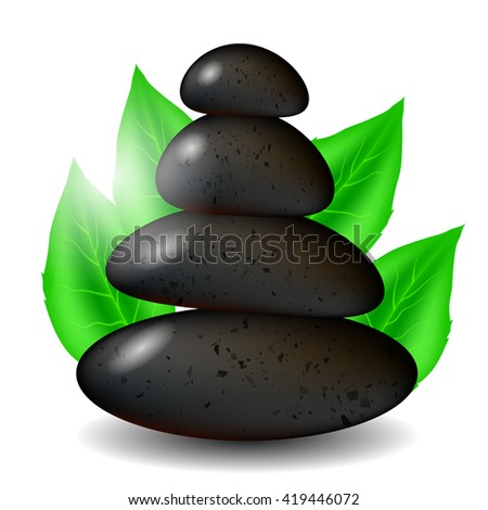 Vector Spa Stones Background with Green Leaves