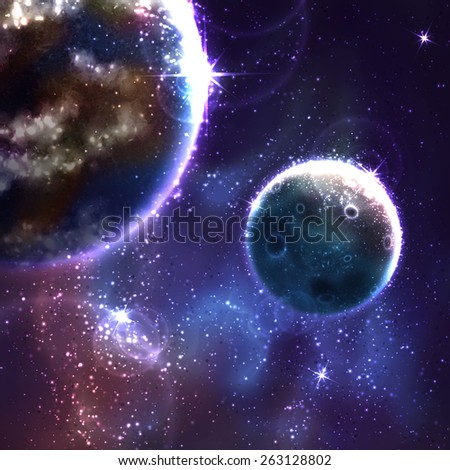 Vector space background with Moon and Earth