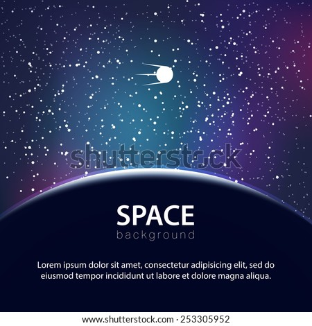 Vector space background with planet and satellite - stock vector